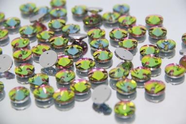 Круглі стрази 12MM (200PCS) (12#AB Pink/Green) фото