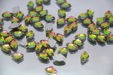 Трикутні стрази 8.5*14 (240PCS) (12#AB Pink/Green) фото