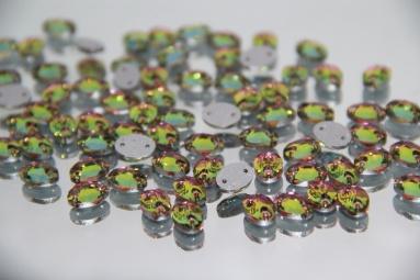 Овальні стрази 8*10 (360PCS) (12#AB Pink/Green) фото