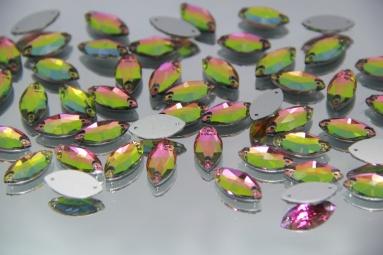 Стрази листком 9*18 (140PCS) (12#AB Pink/Green) фото